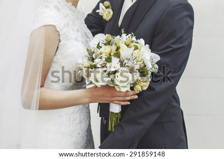 Happy bride and groom together. Wedding photo. - stock photo