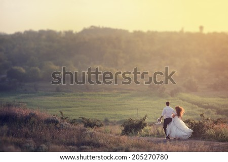 happy bride and groom walking  - stock photo