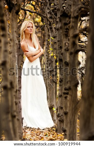 Happy bride on autumn forest - stock photo