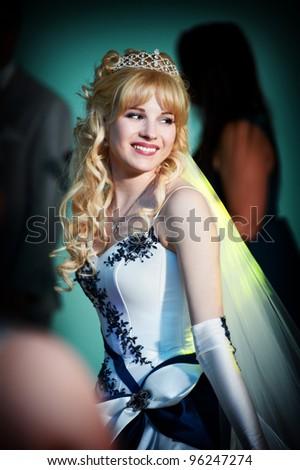 Happy bride on dance floor in wedding day - stock photo