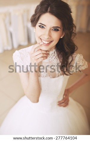 Happy bride posing. Wedding portrait of beautiful fiance.  - stock photo