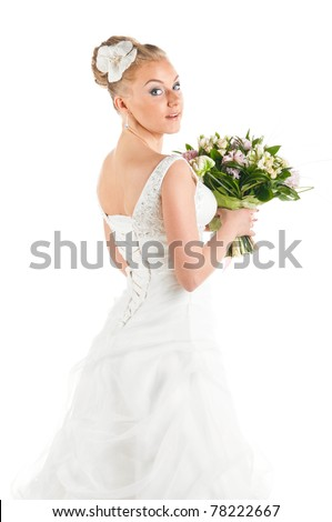 happy bride with flowers portrait, cut out from white - stock photo