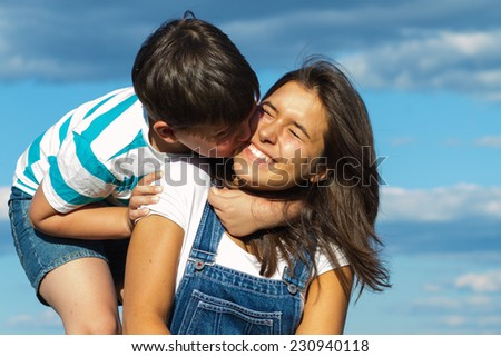 Happy brother and sister - stock photo
