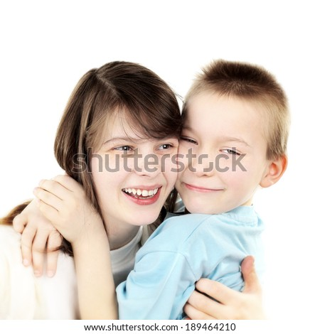 Happy Brother and Sister on the White Background - stock photo