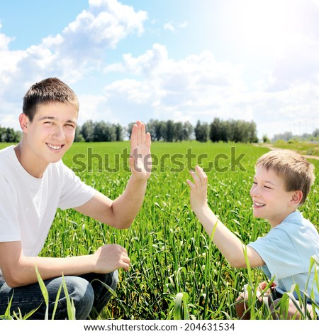 Happy Brothers shake hands at the Summer Field - stock photo