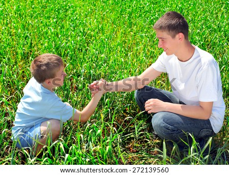 happy brothers shake hands in the summer field - stock photo
