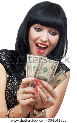 Happy brunette woman with money in hands