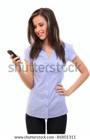 happy brunette woman writing message - stock photo