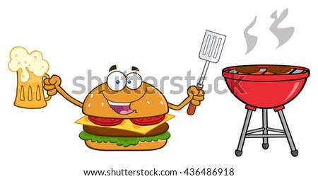 Happy Burger Cartoon Mascot Character Holding A Beer And Bbq Slotted Spatula By A Grill. Raster Illustration Isolated On White Background - stock photo