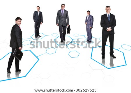 Happy business colleagues stay on shapes isolated
