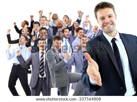 Happy business group. leader with open hand and ready to shake your hand - stock photo