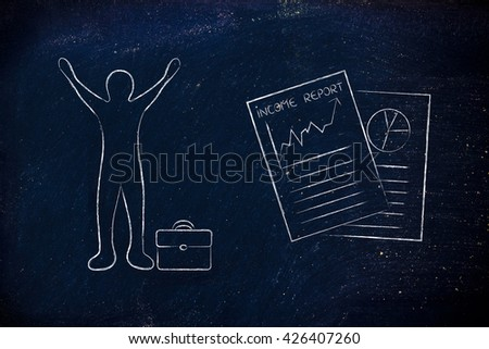 happy business man and positive results from Income Report documents - stock photo