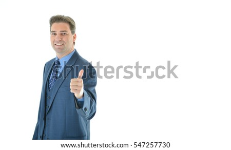 Happy business man giving a big thumbs up offset to the left