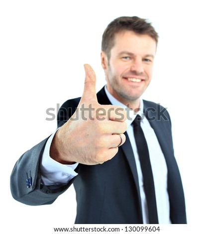 happy business man going thumbs up, isolated on white - stock photo
