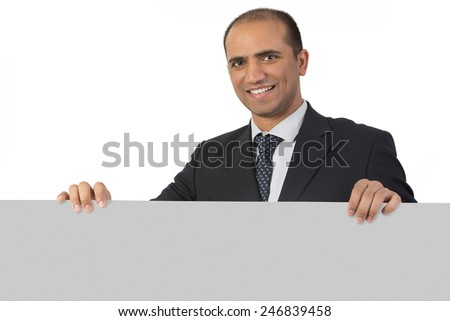 Happy business man holding a business banner   - stock photo