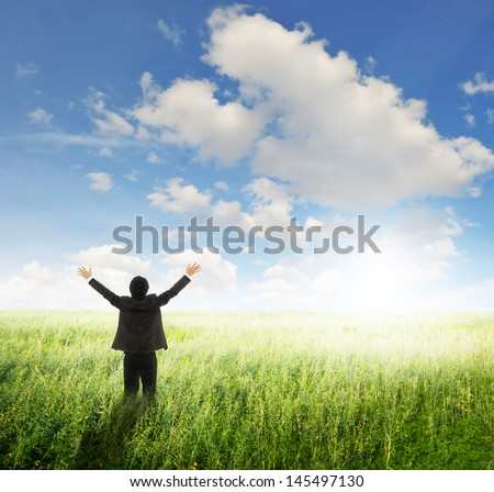 Happy business man in green fields and sun sky  - stock photo