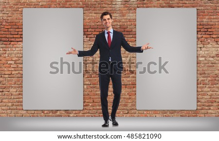happy business man inviting you to see his twon blank big billboards