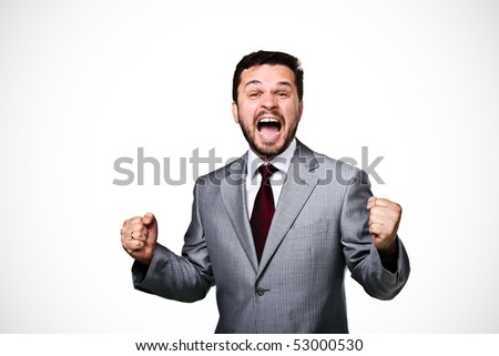 Happy business man isolated - stock photo
