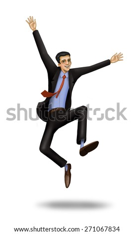 happy business man jumping, he enjoys his own financial success in their business - stock photo