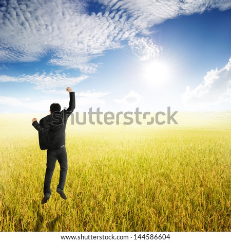 Happy business man jumping in yellow rice field and clouds sky - stock photo