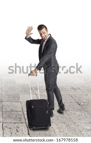 Happy Business Man leaving  - stock photo