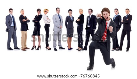 happy business man on an isolated white background with business team