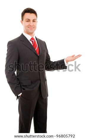 Happy business man presenting, isolated on white background - stock photo