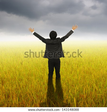 Happy Business Man standing in Yellow  rice field and Rainclouds - stock photo