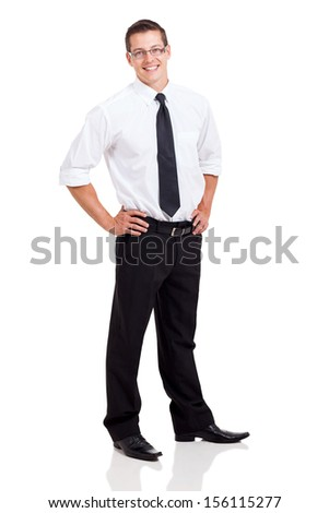 happy business man standing on white background
