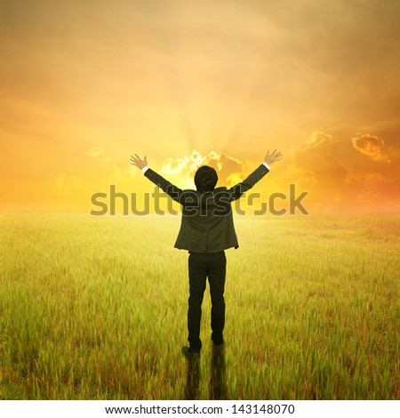 Happy Business Man standing to sunset in grassland - stock photo