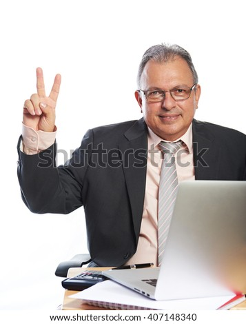 happy business man with laptop isolated on white