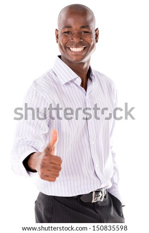 Happy Business man with thumbs up  - isolated over a white background  - stock photo