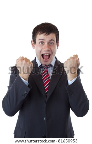 Happy business men cheers loud with clenched fists. Isolated on white background. - stock photo