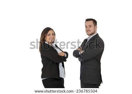 Happy business partners smiling against a white background