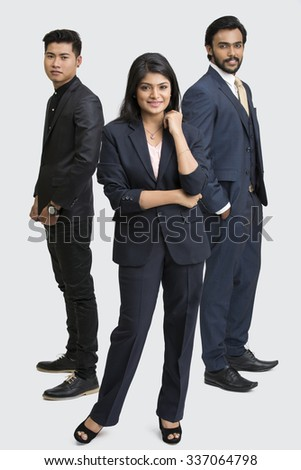 Happy business people standing on white background. - stock photo