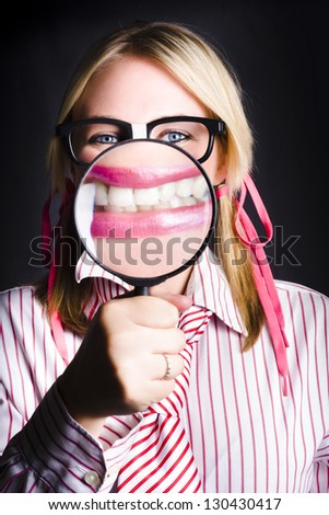 Happy Business Person Showing White Teeth Under Magnify When Showcasing The Happiness In Having Work Dental Health Cover