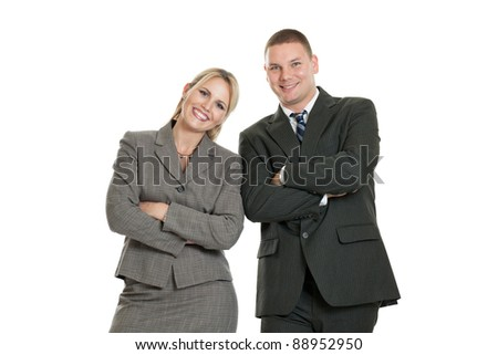 Happy business team isolated on a white background