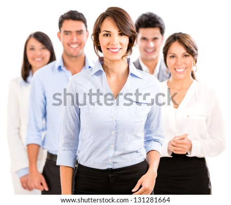 Happy business team smiling - isolated over a white background - stock photo