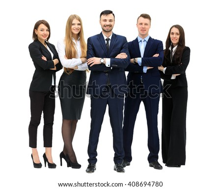 Happy business team smiling - isolated over a white background