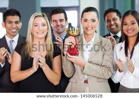 happy business team winning a competition - stock photo
