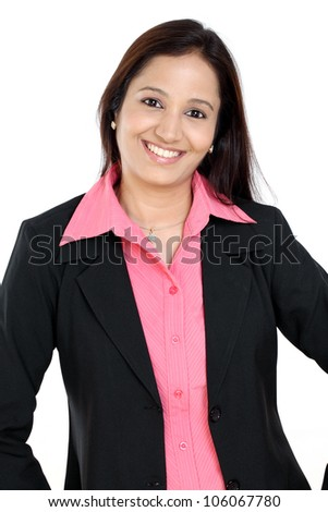 Happy business woman against white background - stock photo