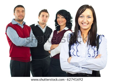 Happy business woman and her team isolated on white background