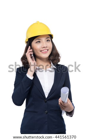 happy business woman architect in builder helmet talking by phone isolated on white background