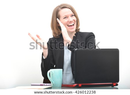 Happy business woman clapping while celebrating success or good news - stock photo