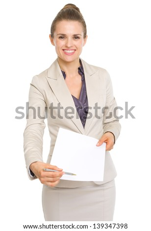 Happy business woman giving document for sign