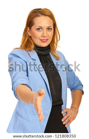 Happy business woman giving hand shake isolated on white background - stock photo