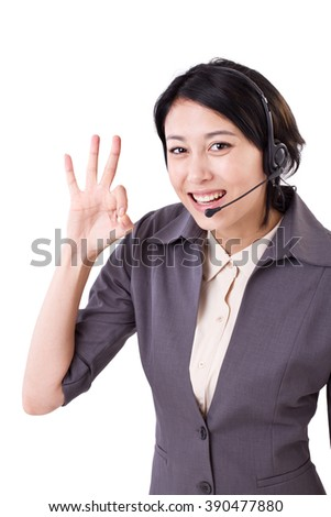 happy business woman, help line, customer care staff showing ok hand gesture - stock photo
