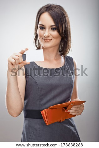 Happy business woman hold credit card. Purse. Isolated. - stock photo