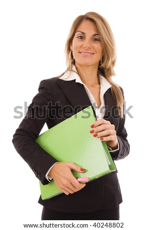 Happy business woman holding a green folder - stock photo