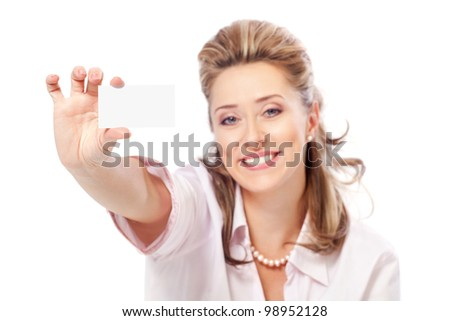 Happy business woman holding blank business card, white background - stock photo